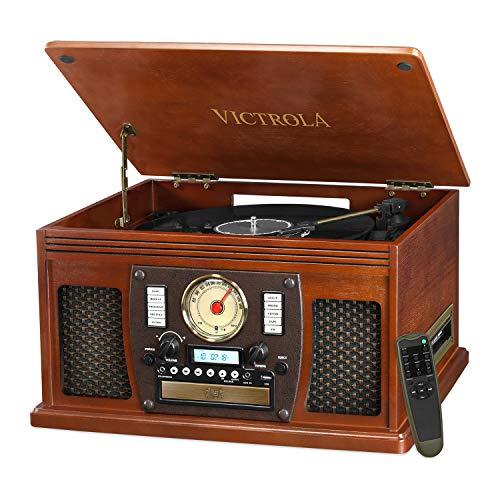 Victrola Navigator 8 en 1 Tocadiscos clásico con Bluetooth y codificación USB...