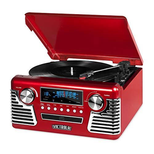 Tocadiscos y centro multimedia retro Bluetooth Victrola 50's con...